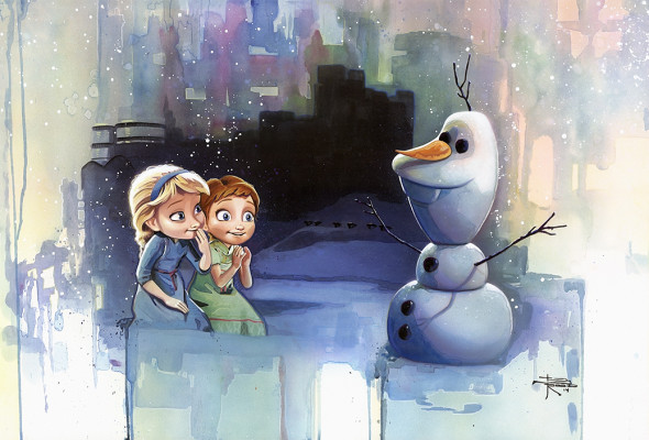 "New Disney ""FROZEN"" fine art prints.... Building a Snowman"